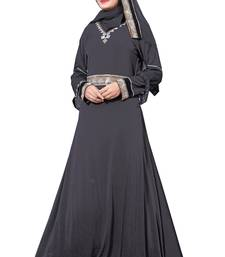 Waist Belt Style Black Lycra Abaya Burkha With Hijab For Women