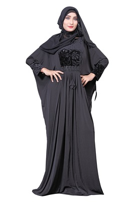Black Color Embosed Velvet Lycra Abaya With Hijab Dupatta For Women
