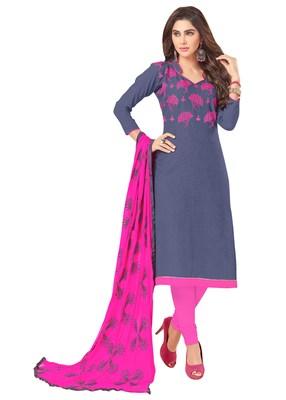 Grey embroidered cotton salwar with dupatta