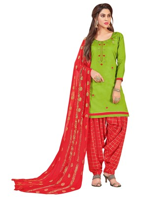 Green Embroidered Cotton Salwar With Dupatta