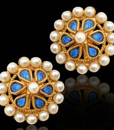 Buy Traditional south INDIA Stone Pearl Kundan bollywood studs set in golden base stud online