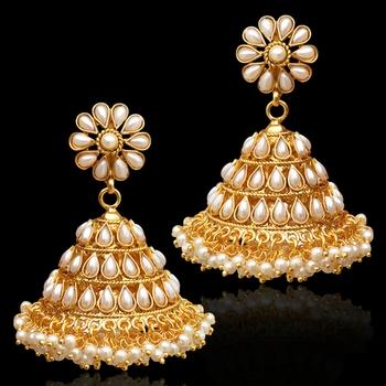 Chandni Pearl Jhumka Jhumki Indian Traditional Bollywood Earrings