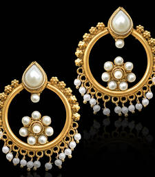 Buy Flower Bali Baali Indian Bollywood Golden Finish Earrings hoop online