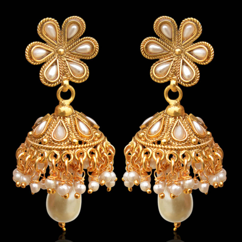 Flower Golden Finish Jhumka Jhumki Bollywood Indian Earrings