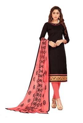 DnVeens Black embroidered slub cotton salwar with printed dupatta