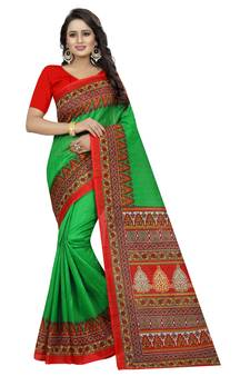 91fb57b81d7 Green printed bhagalpuri silk saree with blouse