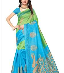 Buy Green printed bhagalpuri silk saree with blouse bhagalpuri-silk-saree online