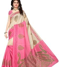 Buy Pink printed bhagalpuri silk saree with blouse women-ethnic-wear online