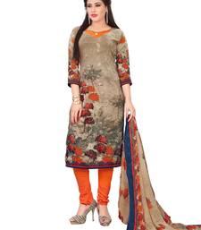 Buy Beige fancy Crepe unstitched salwar with dupatta crepe-salwar-suit online