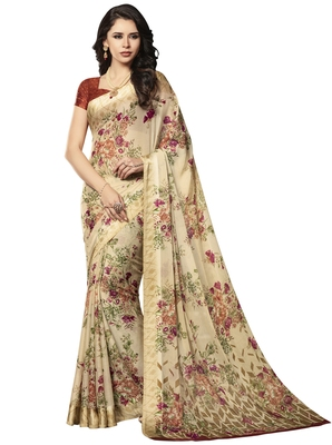 Beige Floral Chiffon saree with blouse