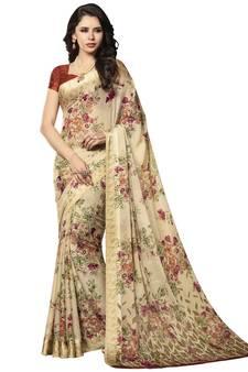 e7d1447e3 Beige Floral Chiffon saree with blouse