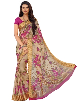 Yellow Floral Chiffon saree with blouse