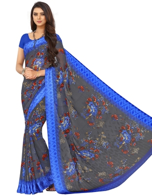 Grey Floral Chiffon saree with blouse