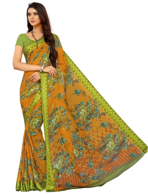 Gold Floral Chiffon saree with blouse