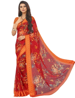 Red Floral Chiffon saree with blouse