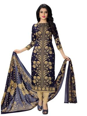 blue fancy Crepe unstitched salwar with dupatta