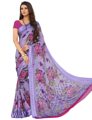 Blue Floral Chiffon saree with blouse