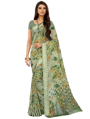 Green Floral Chiffon saree with blouse