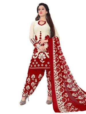 Beige fancy Crepe unstitched salwar with dupatta