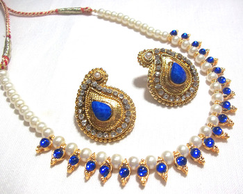 Dark Blue Kundan Mango Necklace Set