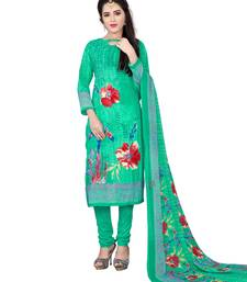 Buy Turquoise fancy Crepe unstitched salwar with dupatta crepe-salwar-suit online