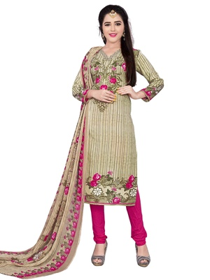 Beige fancy Crepe unstitched salwar with dupatta