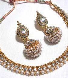 Golden Big Gota Pearl Polki Necklace Set