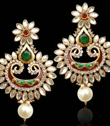 Kundan flower meenakari pearl Indian bollywood earrings jewelry