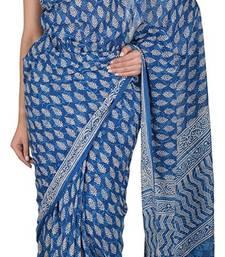 Buy Indigo Dabu Print Mul Cotton Saree With Blouse cotton-saree online