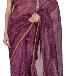 Buy Mauve Handblock Print Cotton Silk Saree With Blouse cotton-silk-saree online