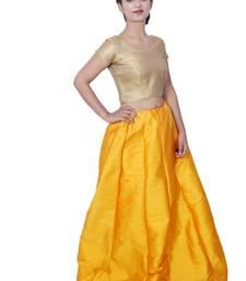 Yellow plain silk stitched lehenga