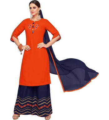 Orange & Navy Blue Rayon Embroidered Women's Palazzo Suit