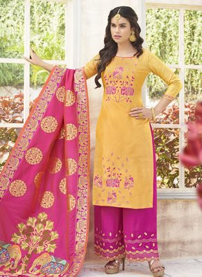 Multicolor embroidered silk salwar with dupatta
