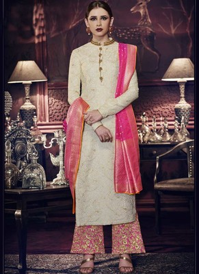 White embroidered silk salwar with dupatta