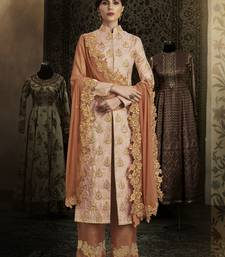 Buy Peach embroidered brocade salwar with dupatta party-wear-salwar-kameez online