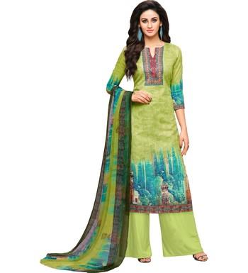 Parrot Green Glaze Cotton Printed Women's Salwar Suit With Aari Work
