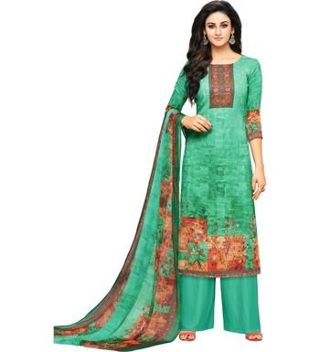 Sea Green Glaze Cotton Printed Women's Salwar Suit With Aari Work