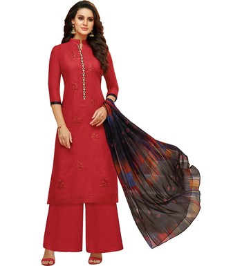 Red Satin Cotton Printed & Embroidered Women's Palazzo Suit