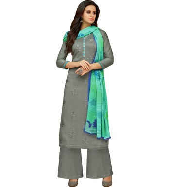 Grey Satin Cotton Printed & Embroidered Women's Palazzo Suit