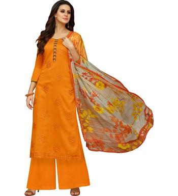 Orange Satin Cotton Printed & Embroidered Women's Palazzo Suit