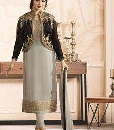 Grey embroidered georgette salwar with dupatta