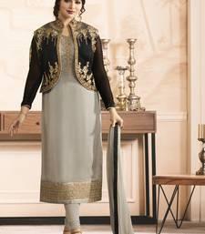 Buy Grey embroidered georgette salwar with dupatta ayesha-takia-salwar-kameez online