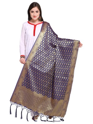 Blue Color Poly Silk Banarasi Women's Dupatta