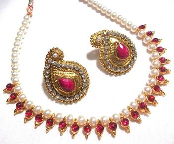 Dark Pink kundan mango necklace set