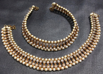 Golden Moti and Stone pearl double line anklet