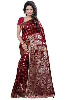 Dark maroon woven banarasi saree with blouse