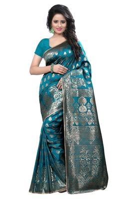 Aqua blue woven banarasi saree with blouse