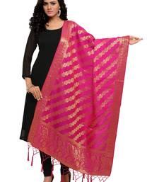 Pink Color Poly Silk Banarasi Women's Dupatta