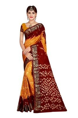 Dark yellow bandhani saree with blouse