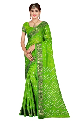 Light green bandhani saree with blouse